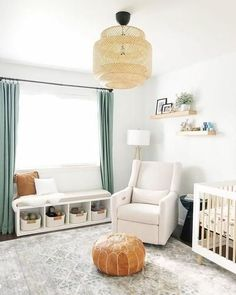 s Blue Green Nursery &;s Blue Green Nur.s Blue Green Nursery &;s Blue Green Nursery &; Nursery Nook, Project Nursery, Girl Nursery, Girl Room, Boy Nursery Curtains, Calming Nursery, Nursery Ideas, Nursery Bookshelf, Nursery Dresser