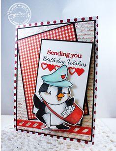 SugarPea Designs - card designed by Lesley Croghan Happy Mail stamp set SugarCuts - Heart Border die