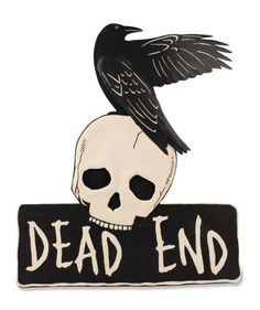 Spooky Halloween sign that warns Dead End!