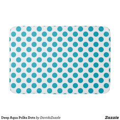 Deep Aqua Polka Dots Bath Mat  Available on many products! Hit the 'available on' tab near the product description to see them all! Thanks for looking!  @zazzle #art #polka #dots #shop #home #decor #bathroom #bedroom #bath #bed #duvet #cover #shower #curtain #pillow #case #apartment #decorate #accessory #accessories #fashion #style #women #men #shopping #buy #sale #gift #idea #fun #sweet #cool #neat #modern #chic #blue #aqua #light #dark #white