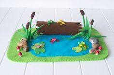 frog pond play mat, felt playscape, small world.