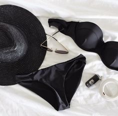 Josie Barber fashion stylist - featuring RH Swimwear's black Balconette and Low riser bottoms Fashion Lookbook, Bikini Fashion, Fashion Stylist, Online Boutiques, Bikini Swimwear, Fashion Boutique, String Bikinis, Boater Hat, Barber