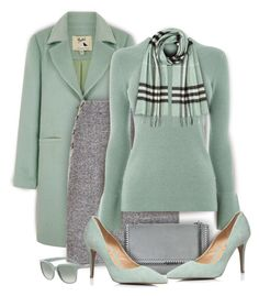 """""""Mint and Gray"""" by kiki-bi ❤ liked on Polyvore featuring Yumi, Hobbs, Warehouse, STELLA McCARTNEY, Dorothy Perkins, Emporio Armani and Burberry"""