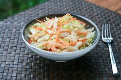 Napa Cabbage, Asian Pear & Carrot Salad: with almonds and a tangy sauce, my kid may actually eat this one too!