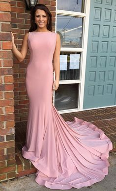 elegant pink mermaid long prom dress with train, 2018 pink long prom dress, formal evening dress