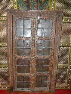 Antique Hand Carved Iron Cladded Teak Wood Double Door/ Window 63x37