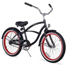 Firmstrong Urban Boy Single Speed Beach Cruiser Bicycle with Red Rims, 15.5x26-Inch, Black - http://www.bicyclestoredirect.com/firmstrong-urban-boy-single-speed-beach-cruiser-bicycle-with-red-rims-15-5x26-inch-black/
