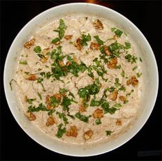 Georgian chicken with walnut sauce - can also be used with eggplant or fish or green beans!