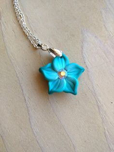 Turquoise Flower Necklace 1 Inch Diameter Aqua by EmilyMah on Etsy