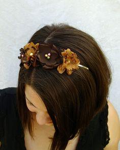 Chocolate and Caramel Boho Flower Headband by RuthNoreDesigns, $15.00
