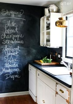 Really like the chalkboard accent wall here