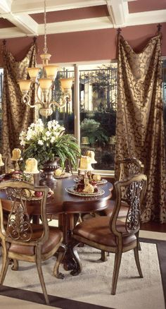 This sale is for one pair of flat panel draperies hung on loops or ties on the ends forms soft folds down the center of the panel . hang these panels on medallion or decorative hooks one width wide standard size is between 48 and 52 Tuscan Dining Rooms, Dining Table, Premier Fabrics, Tuscan Decorating, Decorating Ideas, Tuscan House, Mediterranean Home Decor, Tuscan Style, Home Decor Fabric
