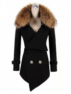 Black Faux Fur Collar Double Breasted Wool Blend Coat