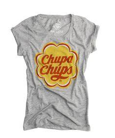 T-shirt in cotone grigia, con logo di Chupa Chups