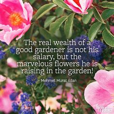 """The real wealth of a good gardener is not his salary, but the marvelous flowers he is raising in the garden!"" -Mehmet Murat ildan"