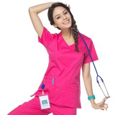 A mock wrap scrub top with lots of fashion details! Color featured here: Passion Pink #maevn #scrubs