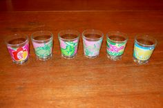 DIY lilly shot glasses. -- Do it with wine glasses instead!
