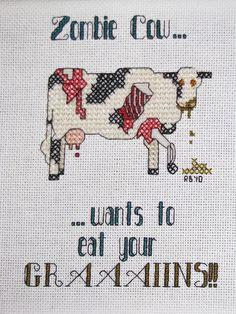 Zombie Cow - in cross stitch