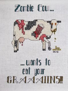 Zombie Cow - in cross stitch by Riann's Pictures, via Flickr