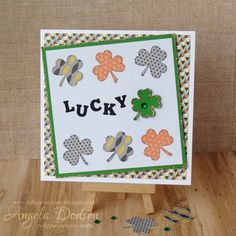 Lucky Clover or St Patricks Day card with Simply Creative My Guy papers by design team member Angela