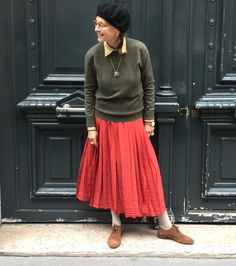 Channeling my inner Nerd. #CrimsonCashmere loden crew neck #Gucci red silk skirt #Gucci suede brogues #CrimsonCashmere French béret