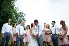 GROOMSMEN. perfect. bridesmaids wearing navy instead of pink. Backyard Farm Wedding [Rachel Joy Photos]