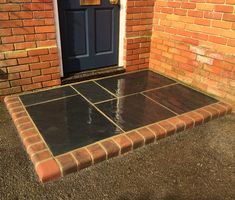 Front door step in midnight slate edged with a brindle kerb Front Door Steps, Ping Pong Table, Slate, Garden Design, Patio, Home Decor, Chalkboard, Decoration Home, Room Decor