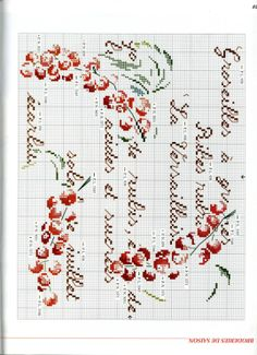 Groseilles Cross Stitch Fruit, Cross Stitch Rose, Cross Stitch Flowers, Cross Stitching, Cross Stitch Embroidery, Ghost Images, Halloween Embroidery, Le Point, Cross Stitch Designs