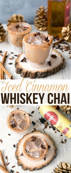 Iced Cinnamon Whiskey Chai - Easy, delicious, and a great holiday drink! Made with Rebbl Chai Elixir #spon #whiskey