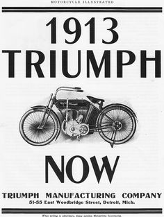 1913 Triumph I love the front suspension of these early century motorcycles, there was no real standardization yet and so a wide variety of solutions were tried. British Motorcycles, Triumph Motorcycles, Vintage Motorcycles, Indian Motorcycles, Custom Motorcycles, Custom Bikes, Triumph Motorbikes, Triumph Bikes, Triumph Bonneville