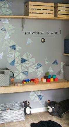 Cute Boys Room Decor Idea - Modern and Geometric Wall Art Stencils on Accent Wall  - Royal Design Studio