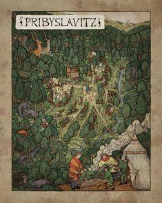 Game maps for RPG Kingdom come Deliverance, Milan Vavron Larp, Kingdom Come Deliverance, Fantasy World Map, Village Map, Map Games, Global Map, Landscape Concept, Fantasy Illustration, Map Design