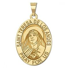 CHAIN IS NOT INCLUDED Available in Solid 14K Yellow or White Gold or Sterling Silver Size Reference: 17mm is the size of a US dime 19mm is the size of a US nickel 25mm is the size of a US quarter Teresa was born Juana Enriqueta Josefina de los Sagrados Corazones Fernndez y Solar in Santiago Chile into an upper class family. Early in her life she read the autobiography of the French Carmelite nun Thrse of Lisieux who was later to be canonized herself. The experience had a profound effect on…