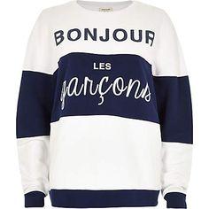 White stripe bonjour sweatshirt £32.00