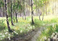 Bild Landschaft Original Aquarell Birke Löwenzahn 21x30 cm | eBay