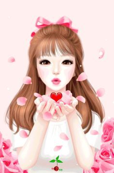 Animated Gif by Hfhfg Gdrgfd Cartoon Girl Images, Cute Cartoon Girl, Anime Girl Cute, Anime Art Girl, Beautiful Girl Drawing, Cute Girl Drawing, Gif Lindos, My Cute Love, Cute Kawaii Girl