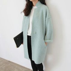 Mint green long coat