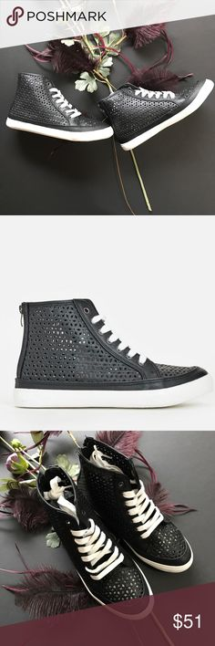 Laser cut black high tops! These kicks are stepped up to a whole new level!!  You can wear dressed up or down!!!  02111110317 Shoes Sneakers