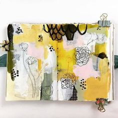 Once I've choosen a palette I start to see it everywhere! And I'm really in love with this Golden yellow right now. This art journal Art Journal Pages, Art Journal Backgrounds, Doodle Art Journals, Art Journaling, Artist Journal, Artist Sketchbook, Moleskine, Yellow Art, Survival