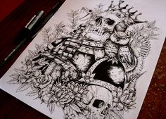Skulls, tattoos and drawings on Behance