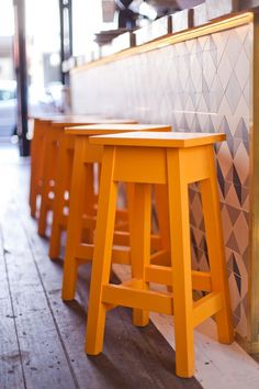 Yellow stools.  Photos by Will Reichelt.