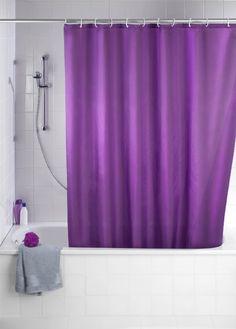 Wenko 20035100 Anti-Schimmel Duschvorhang Uni Purple - Anti-Bakteriell, waschbar, mit 12 Duschvorhangringen, Kunststoff - Polyester, cm, Lila: Amazon.de: Küche & Haushalt