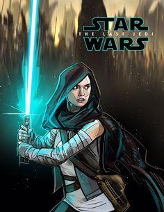Fan poster for Star Wars: The Last Jedi by Star Wars Fan Art, Rey Star Wars, Star Wars Brasil, Star Wars Painting, Jedi Sith, Fanart, Star Wars Gifts, Last Jedi, Love Stars