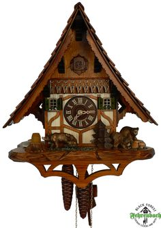 Cuckoo Clock - 1-day Chalet With Bear & Cubs - Schneider