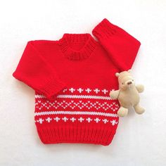 Red baby sweater  6 to 12 months  Knit red jumper  Baby