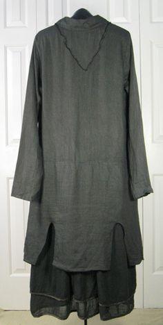 Cynthia Ashby OKeefe Linen Coat Dress Trout Gray Medium