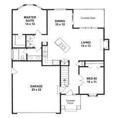 First Floor Plan of Traditional   House Plan 62628