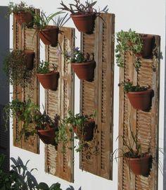 Prenda partes de venezianas na parede e acomode seus vasinhos para garantir temperos fresquinhos sempre à mão - Ademilar