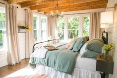 "Fixer Upper | The Takeaways. Love the look of ""layered bedding!"""