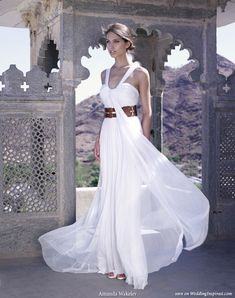 Rajasthan Beauty -  draped silk tulle wedding dress with leather belt by Amanda Wakeley Sposa